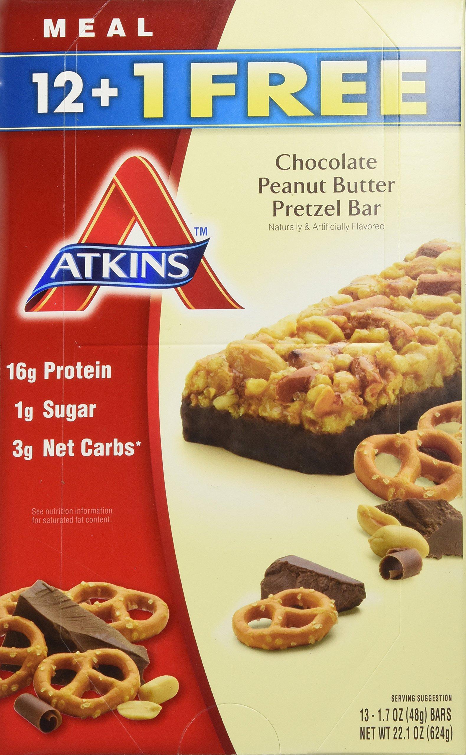 Atkins Chocolate Peanut Butter Pretzel Bar, 13 Count by atkins (Image #1)