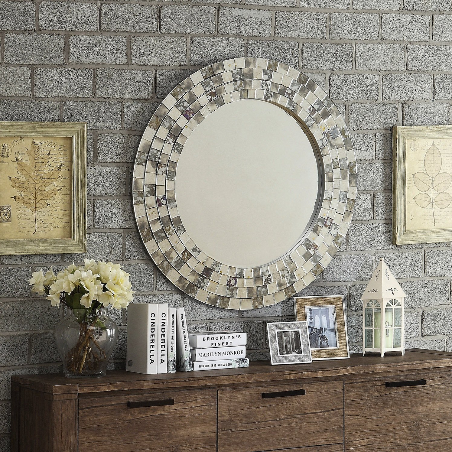 Amazon.com: INSPIRE Q Palmer Frosted Tile Silver Finish Large Round Accent  Wall Mirror: Cell Phones & Accessories