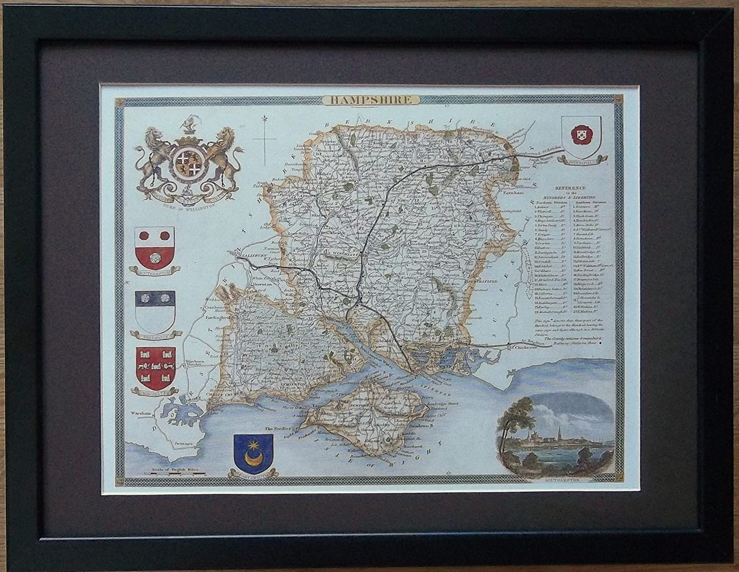 Framed and Mounted Old County Map - 12'' x 16'' frame, Old Hampshire Map framed print