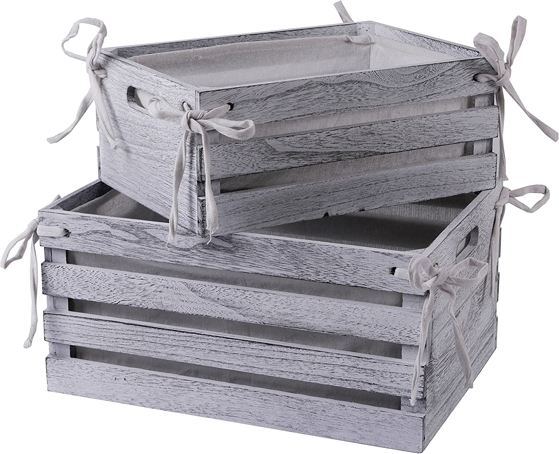 SLPR Decorative Lined Storage Wooden Crates (Set of 2, White)   Farmhouse Wood Crate Box