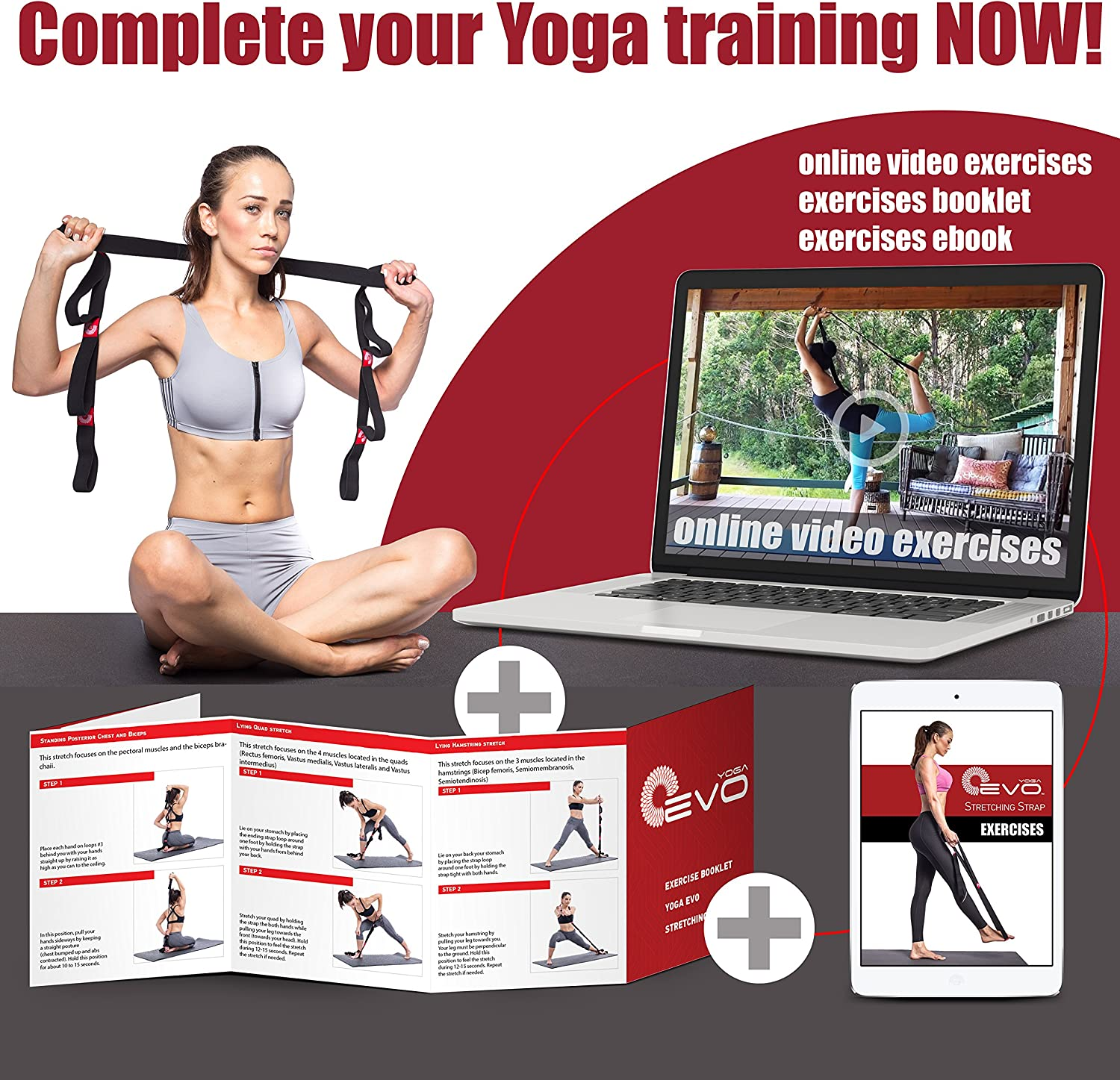 Yoga EVO Stretching Strap with Loops for Physical Therapy Yoga, Exercise and Flexibility Elastic Fitness Stretch Band