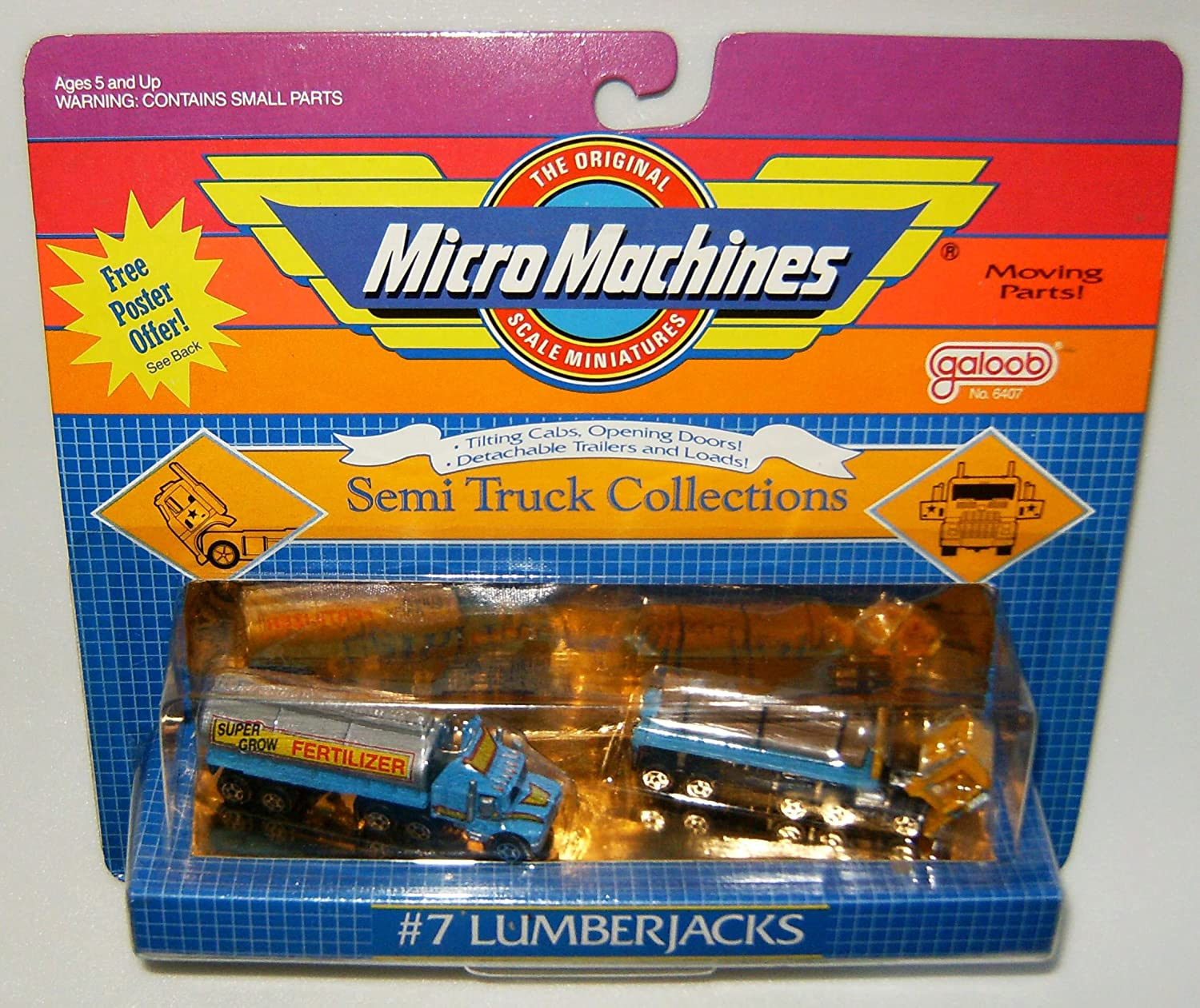 1988 Micro Machines 7 Lumberjacks Semi Truck Collection 1948 Ford Toys Games