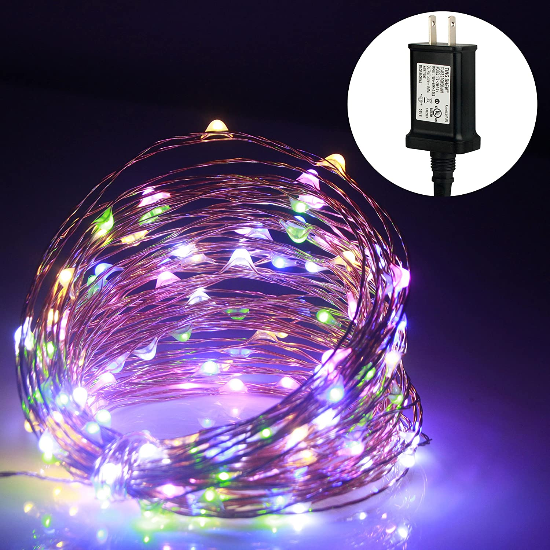 ALED LIGHT®Dirigido alambre de cobre flexible Luz de Navidad estrellado al aire libre luces de cadena de interior y de jardín, Patio, boda, Árbol, Fiesta, Navidad (20M, Blanco frío)