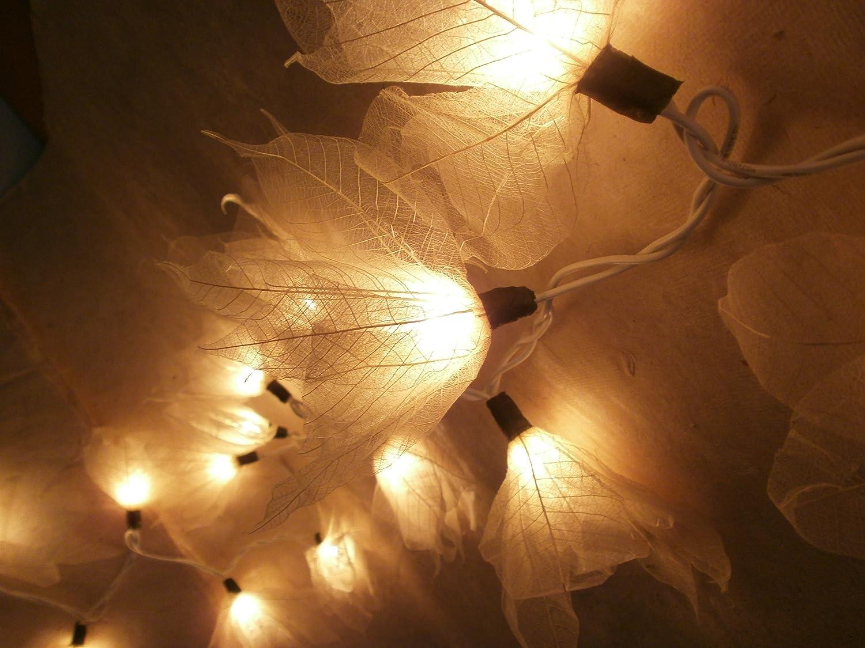 Amazon.com: natural cream flower leaf string lights 9 foot long ul ...