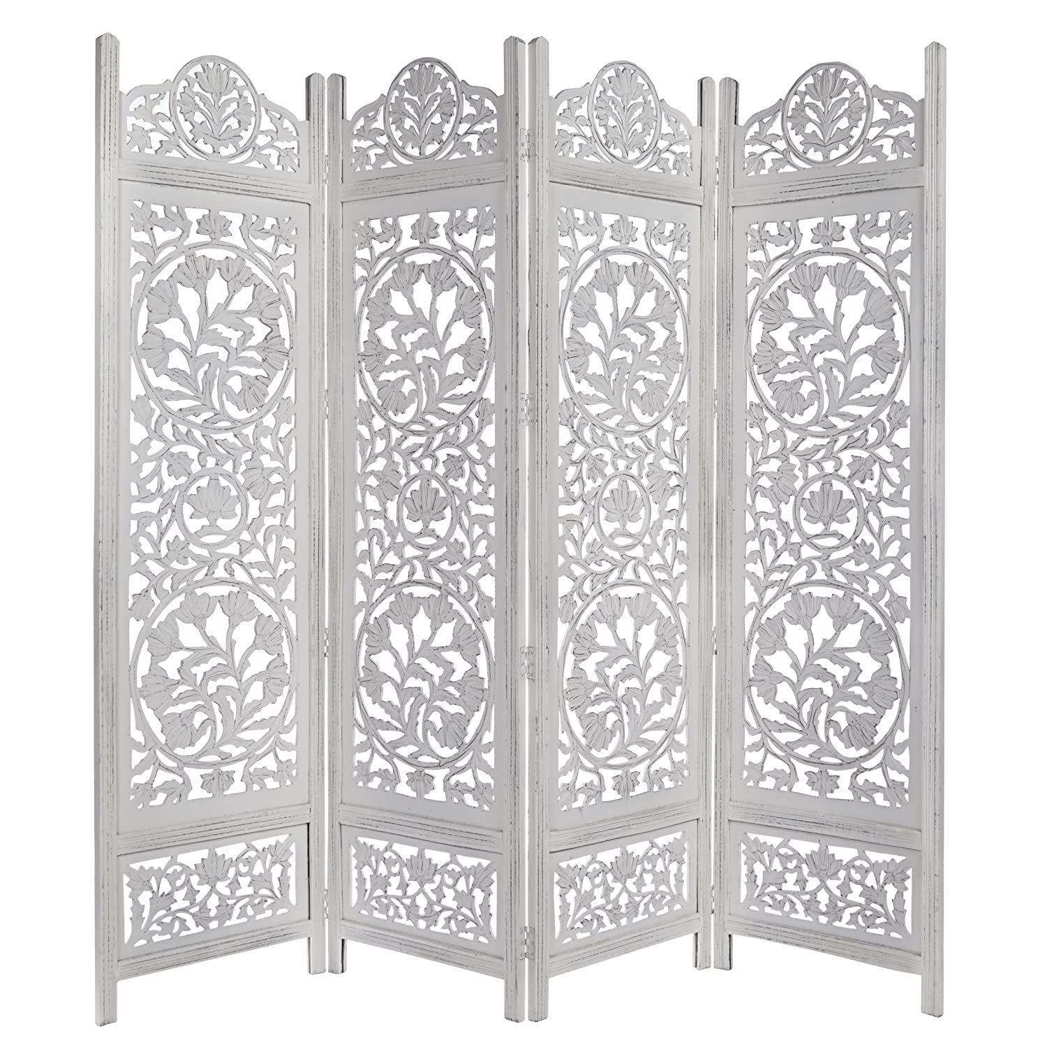 Indoor Privacy Screen Living Room Furniture Amazoncom Kamal The Lotus Antique White 4 Panel Handcrafted Wood