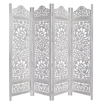 Kamal The Lotus Antique White 4 Panel Handcrafted Wood Room Divider Screen  72x80, Intricately carved