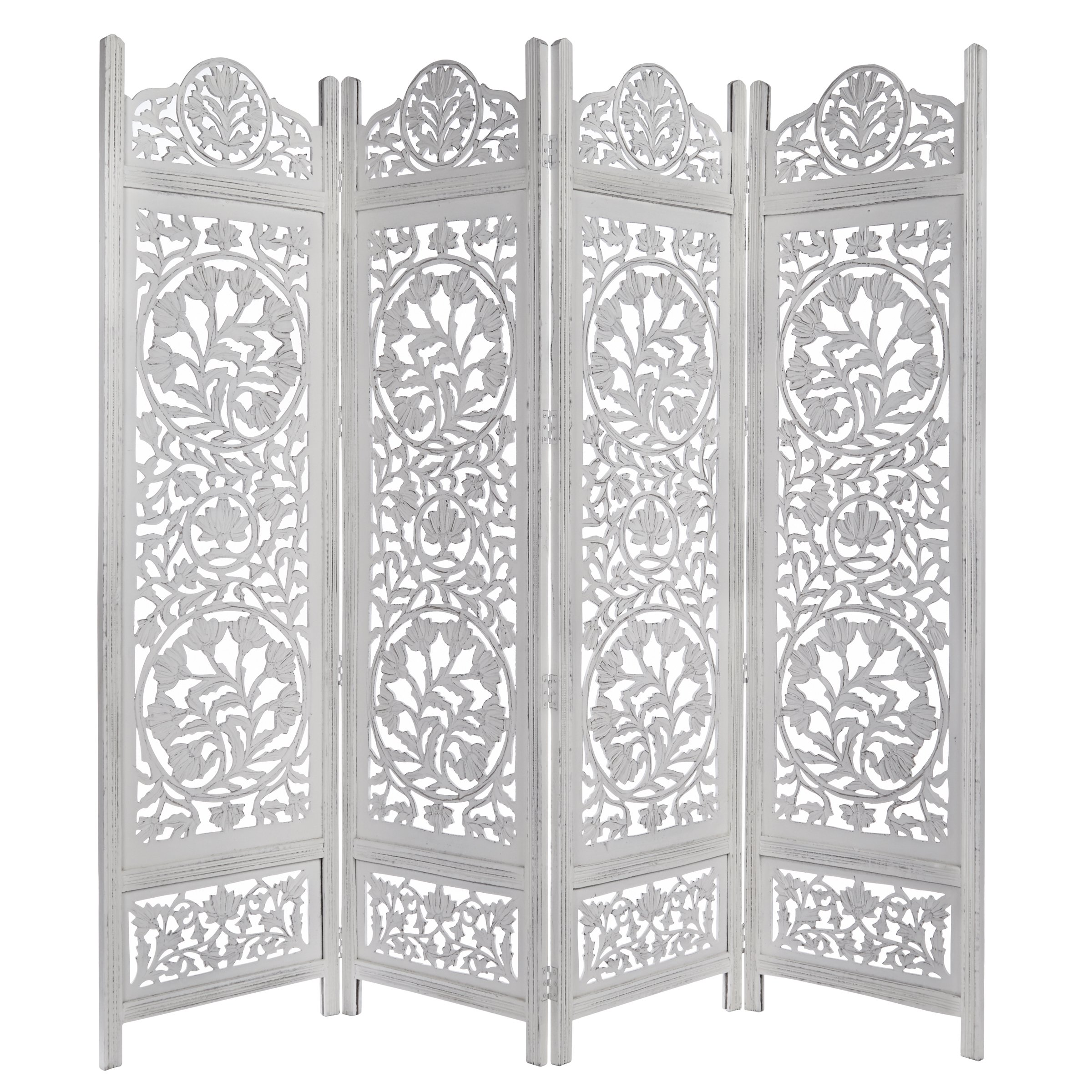 Kamal The Lotus Antique White 4 Panel Handcrafted Wood Room Divider Screen 72x80, Intricately carved on both sides making it fully reversible, highly versatile. Hides clutter, adds dÃcor by Cotton Craft (Image #1)