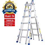 TOPRUNG Model-26 ft. Aluminum Extension Multi-Purpose Ladder with 300 lb. Load Capacity Type 1A Duty Rating