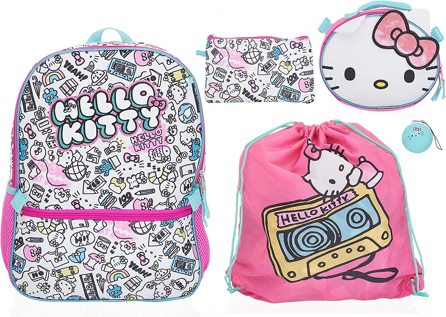 Hello Kitty 5 Piece Backpack Set for Girls, Glitter Printed Schoolbag with Front and Side Mesh Pocket, Lunch Bag, Pencil Case, Cinch Rucksack and Ball Dangle, Kid's Daypack for School, Camping or Travel