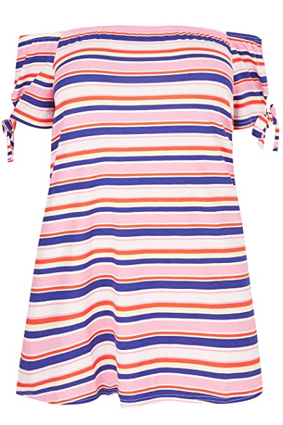 ebb2a9b9fcbcb9 Yours Women s Plus Size Pink   Striped Print Bardot Top with Tie Sleeves  Size ...