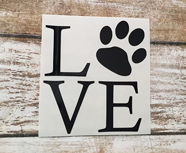 Love with paw print decal puppy love sticker