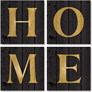 Lovely Black and Gold HOME Print Set: Four 12x12in Paper Posters (Printed on Paper, Not Wood)