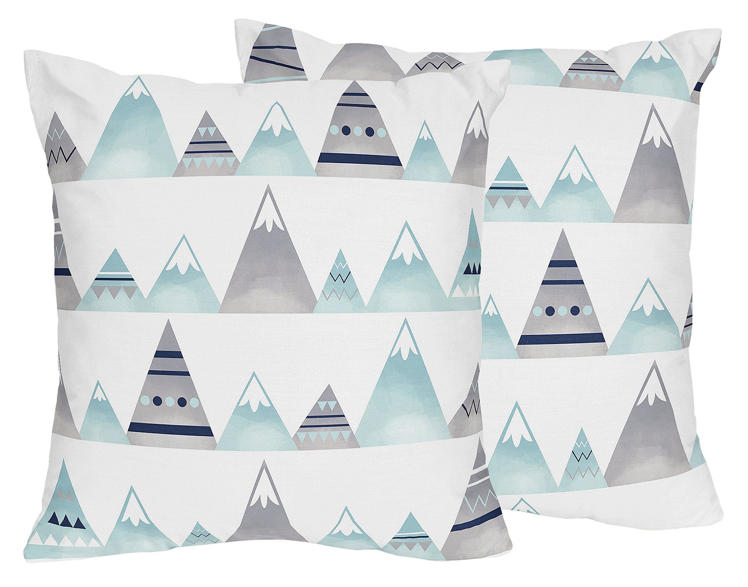 Sweet Jojo Designs 2-Piece Navy Blue, Aqua and Grey Aztec Decorative Accent Throw Pillows for Mountains Collection by