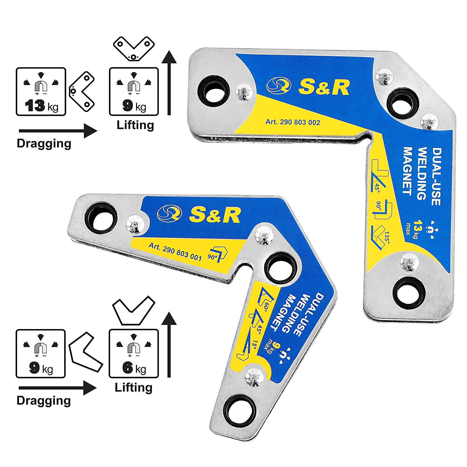 2-Pieces S/&R Welding Magnet Set with Angles 15/° 45/° 60/° 90/° 120/° 135/° 165/° Holding Force up to 9 KG and up to 13 KG
