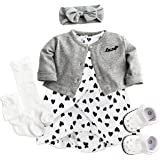 Shoes and Socks Baby Girl Cotton Dress with Cardigan Headband