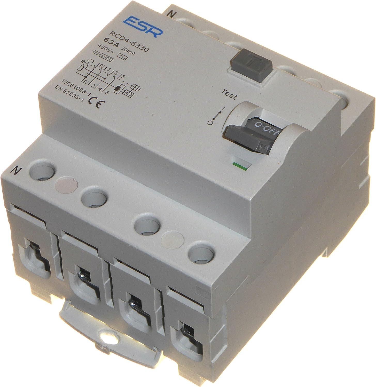 63 Amp 30mA RCD RCCB Trip Switch 4 Pole Safety Din Rail 63A 16A NEW