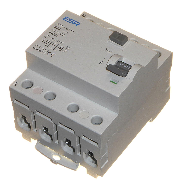 63 Amp 30mA RCD RCCB Trip Switch 4 Pole DIN Rail Three Phase 400 Volt ESR
