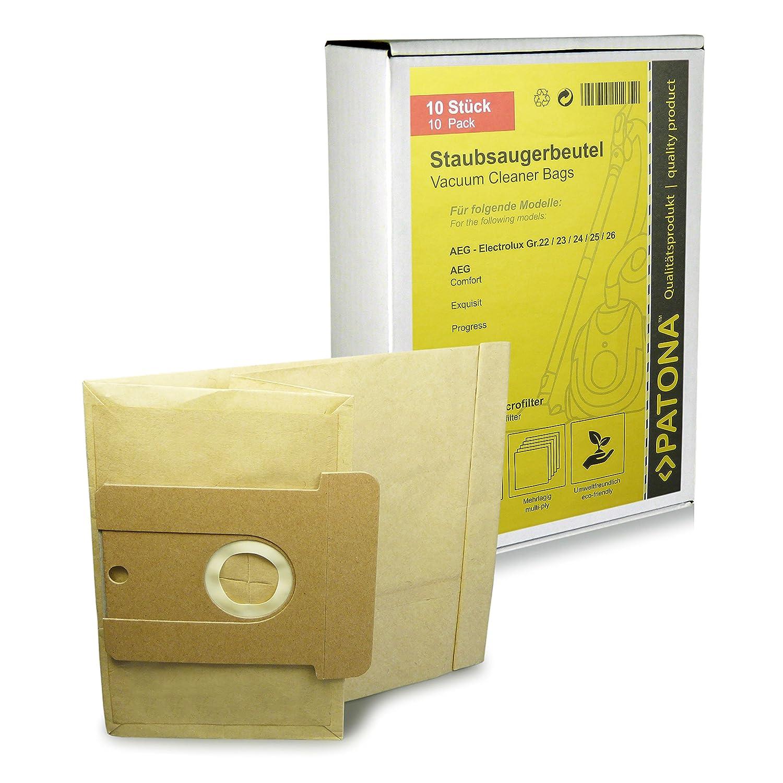 10x Bolsas de aspiradora papel para AEG Dimensión / Type 22 23 24 25 26 - AEG Vampyr TC 970 Ecotec, TC 1000 - 1999, 2000, TC 3000 - 3999, TC Artline ...