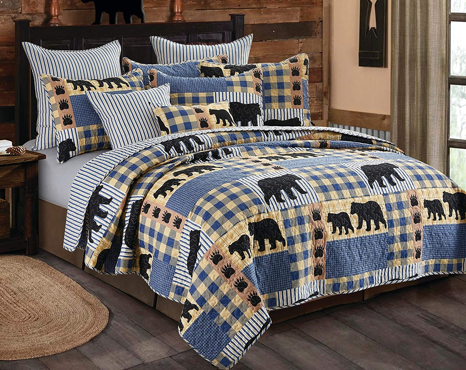 Virah Bella 3 Piece Black Bear Blue Plaid Quilt Set (King)