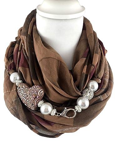 foto ufficiali 8323c 7e23b Sciarpa gioiello, foulard donna color coccio a fantasia, con ...