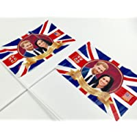 PMS Royal Couple Harry and Meghan Hand Held Flag - Plastic