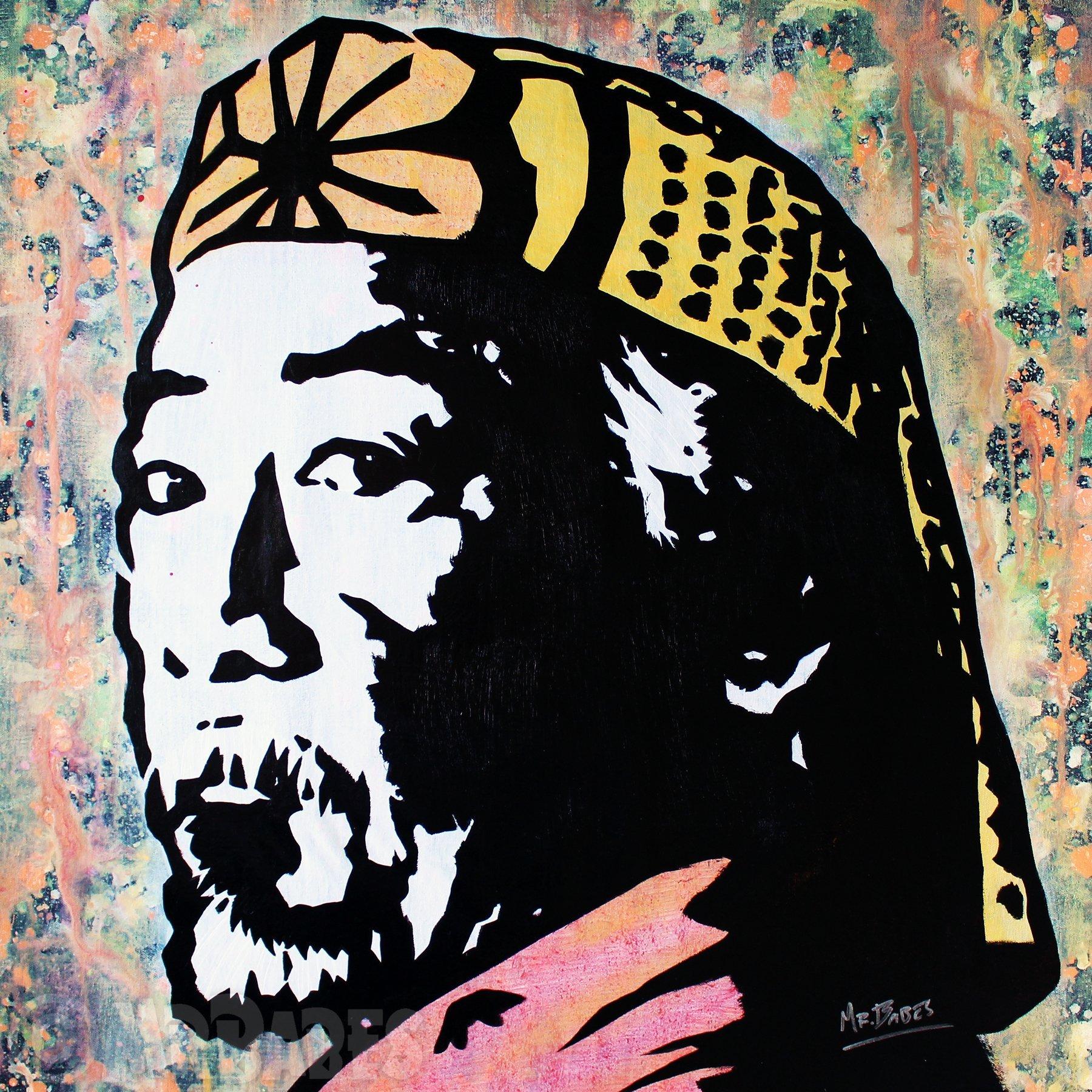 MR.BABES - ''The Karate Kid: Mr. Miyagi (Pat Morita)'' - Original Pop Art Painting - Movie Portrait