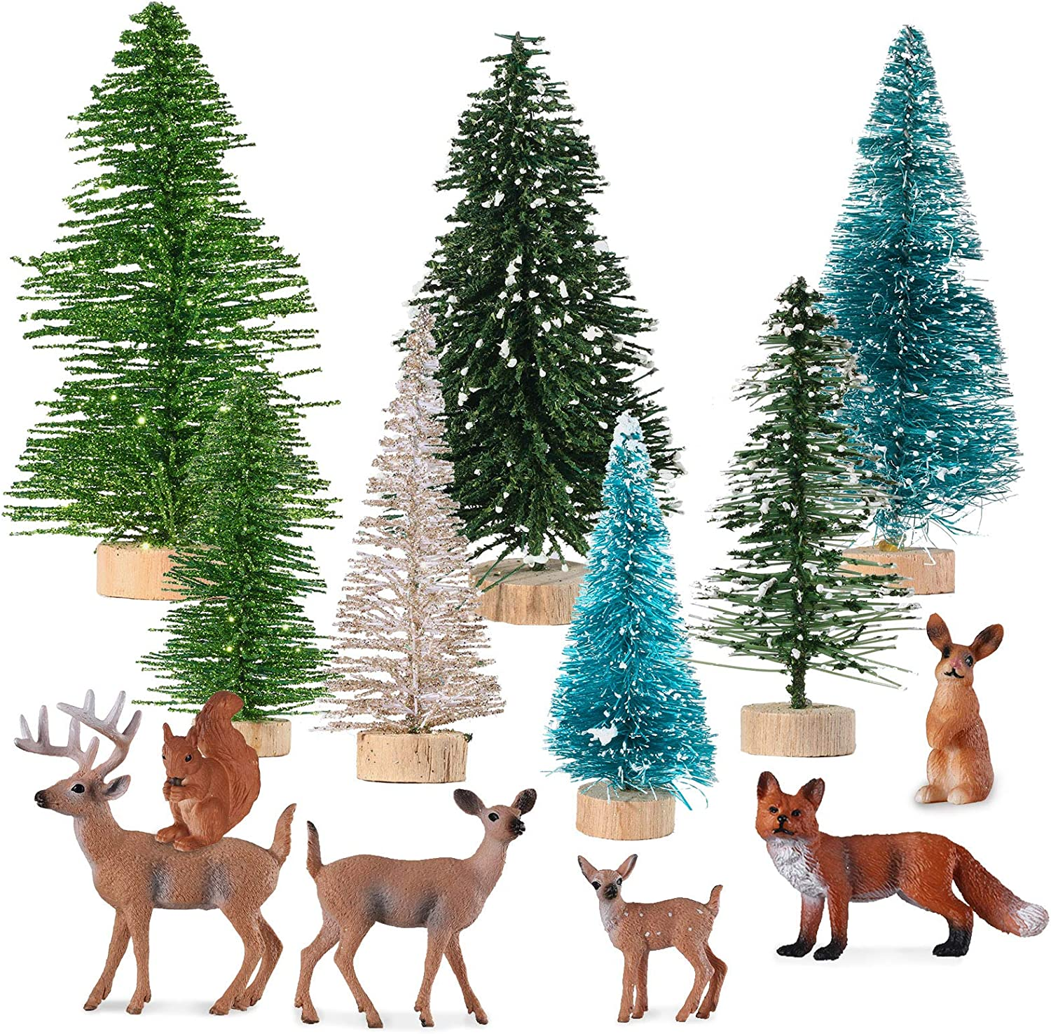 6 Pieces Christmas Mini Forest Animal Figures Toys Christmas Woodland Creatures Figurines Forest Animal Cake Toppers, 7 Pieces Plastic Christmas Tree Snow Tabletop Ornaments for Xmas Decor
