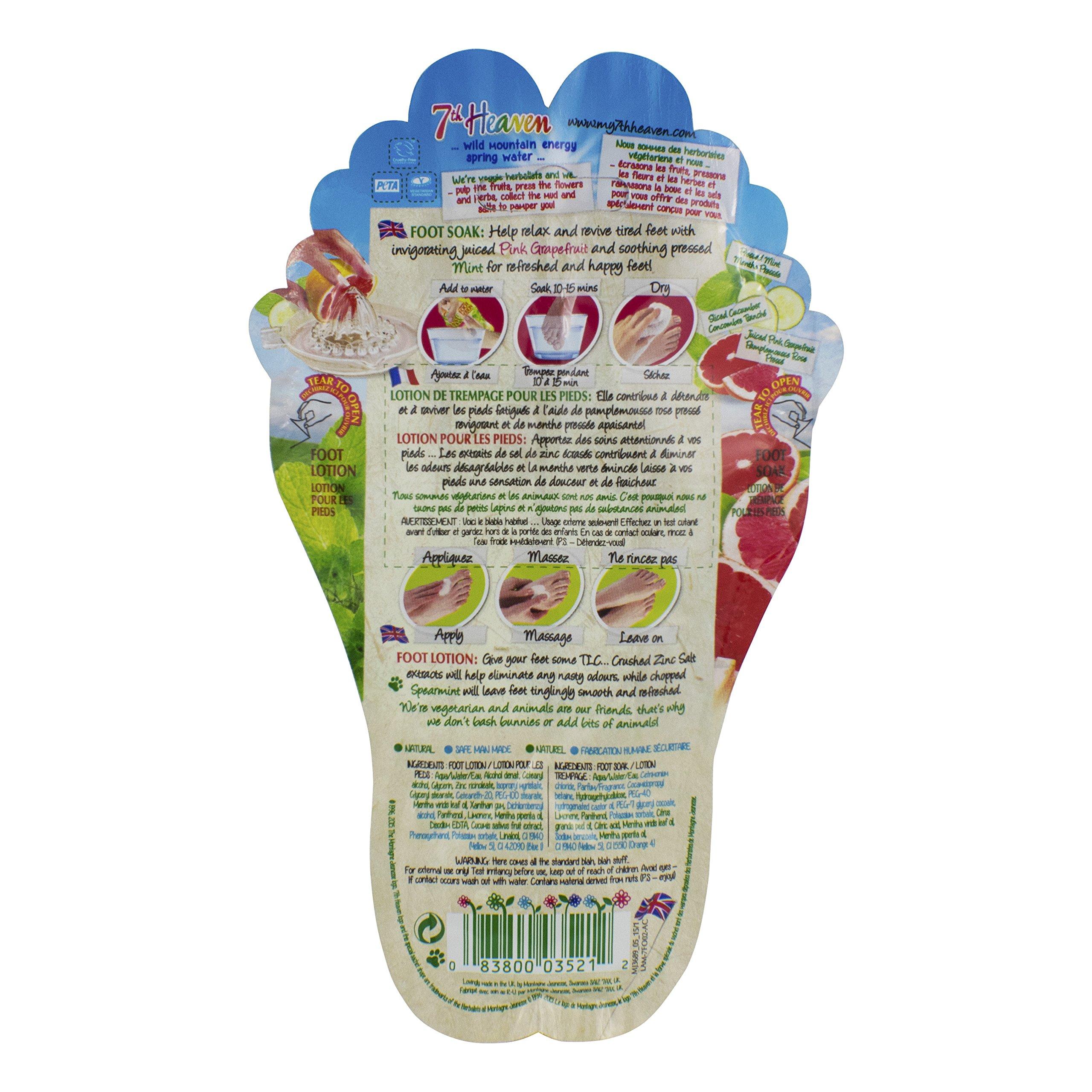7th Heaven Foot Soak & Foot Lotion Packet, Grapefruit & Mint (Pack of 6)