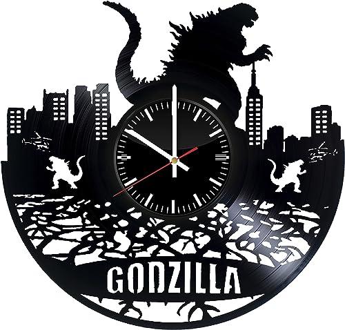 Godzilla Vinyl Record Wall Clock. Room Wall Decor