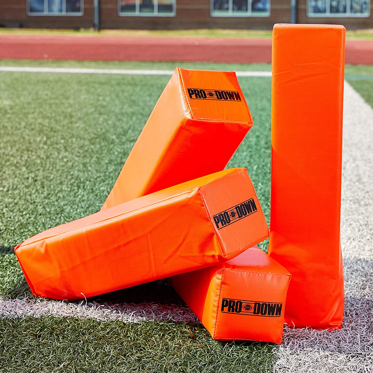 Crown Sporting Goods Anchorless Weighted Football Pylons Orange Set of 4