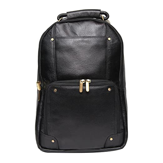 Comfort Men s 18 Inch Pure Black Leather Backpacks Bag For Men And Women  El83 Onesize Black f4357f74cf2e9