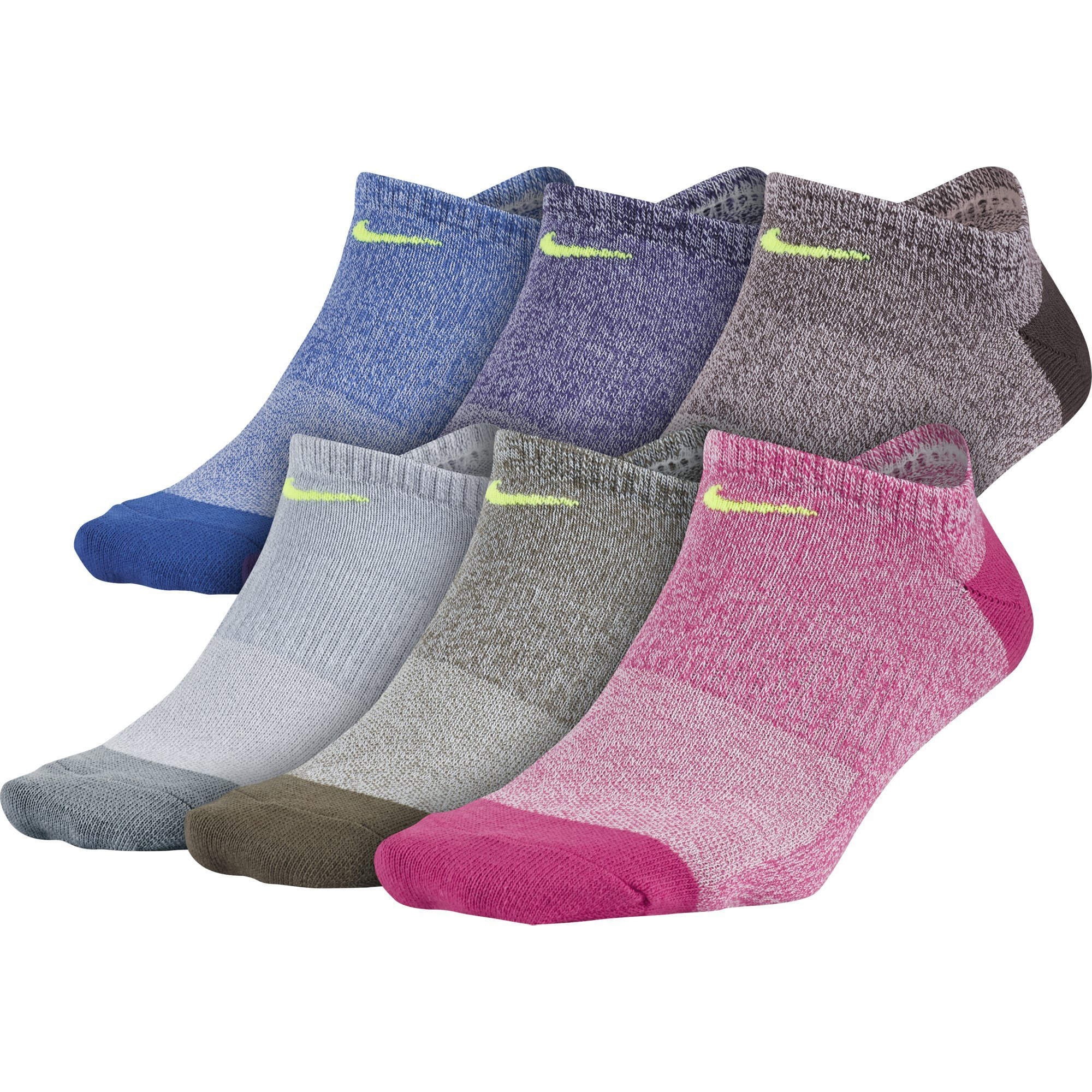 NIKE Women's Everyday Lightweight No-Show Socks (6 Pairs), Multi-Color (941), Medium