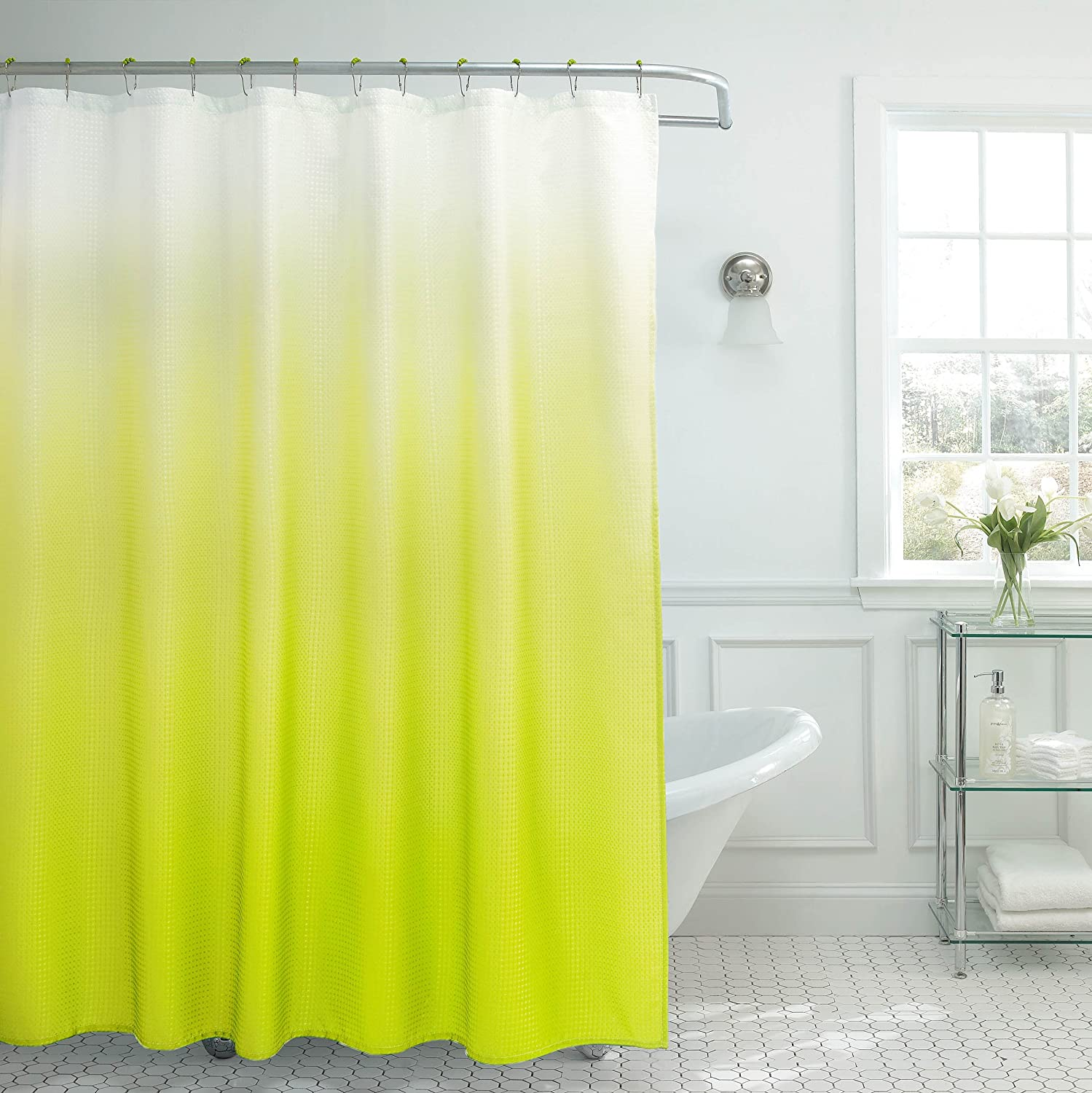 Creative Home Ideas Ombre Textured Shower Curtain with Beaded Rings, Lime