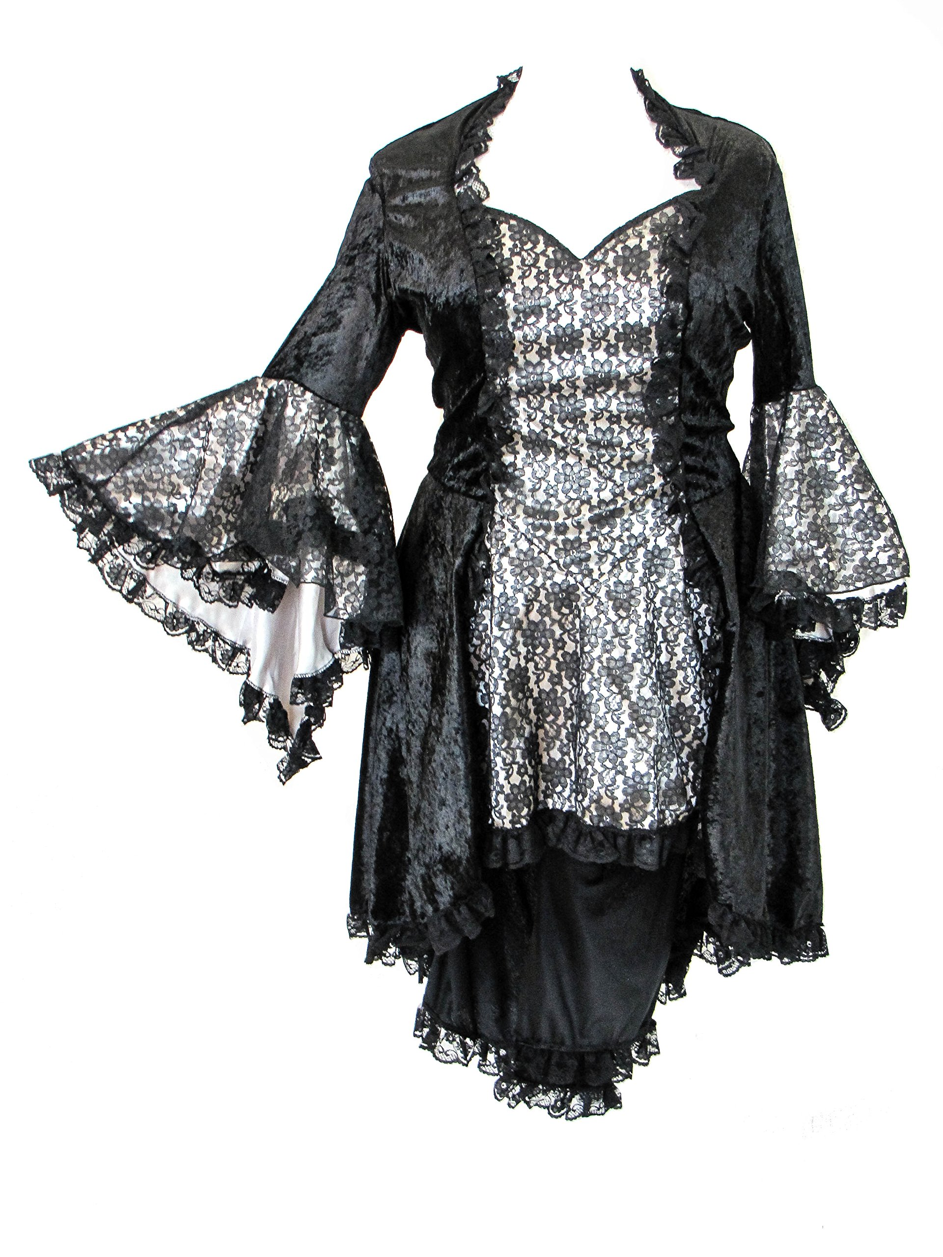 Eternal Love Plus Size Black Pewter Gothic Gwendolyn Dress Taffeta Lace (TAGGED 1X)
