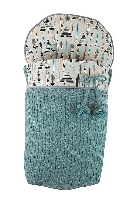 Saco funda para silla de paseo en punto verde agua y loneta de plumas y tipis.Fabricado en España