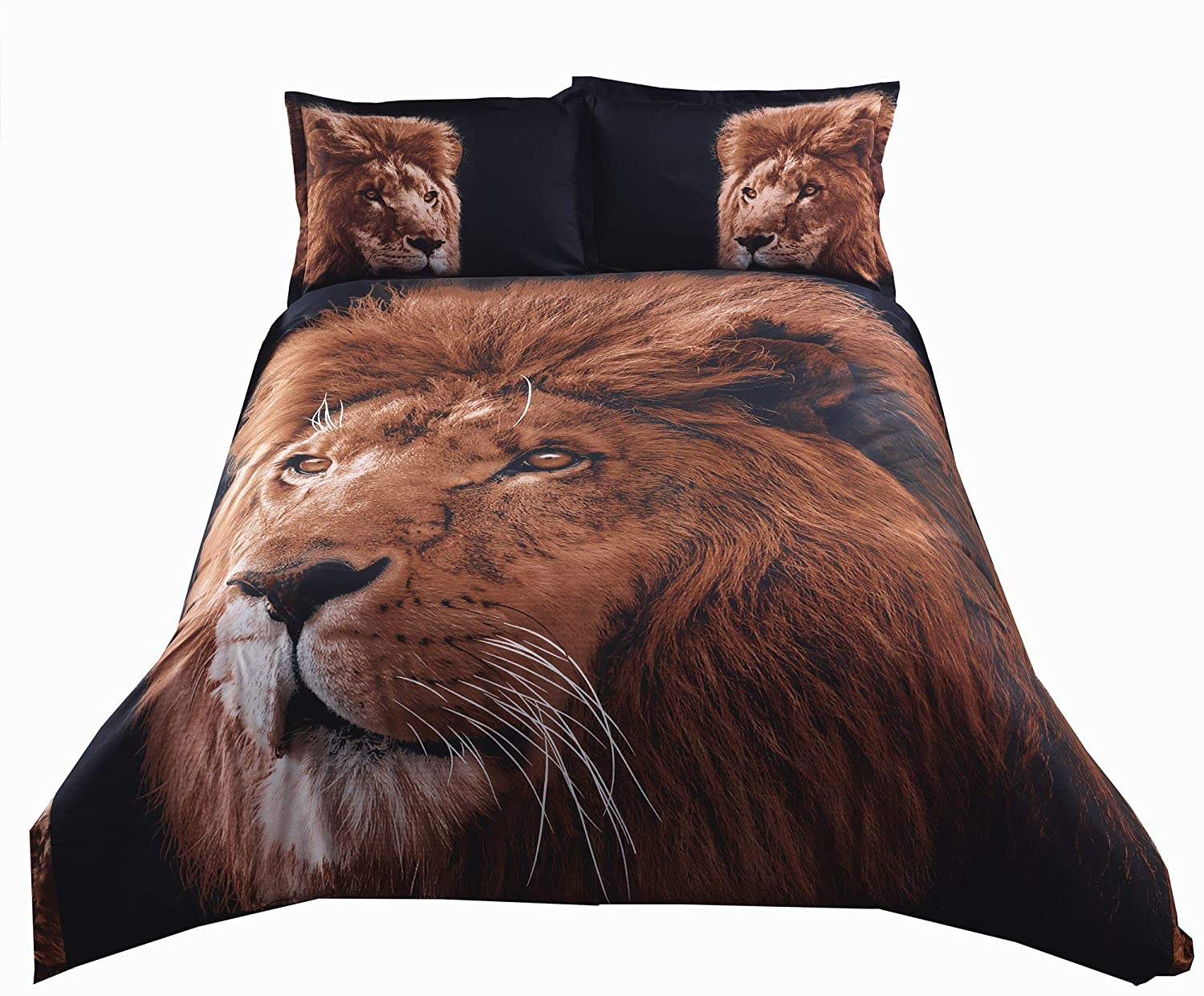 ENCOFT Lion with Black Background Print 3D Bedding Sets Twin Size for Kids Duvet Cover Set with Flat Sheet Polyester 4 Pieces,1 Duvet Cover Sets,1 Flat Sheet,2 Pillow Cacses,No Comforter(Twin)