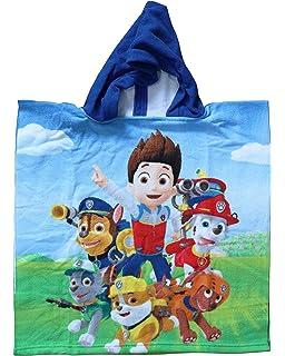 Patrulla Canina - Poncho-toalla infantil microfibra con capucha, 50x100 cm toalla, 50x50