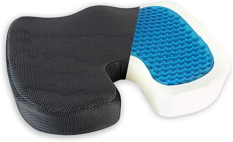Healthy Spirit Gel Enhanced Seat Cushion | | Memory Foam and Gel Seat Cushion Office Chair Car Seat Cushion Coccyx, Black