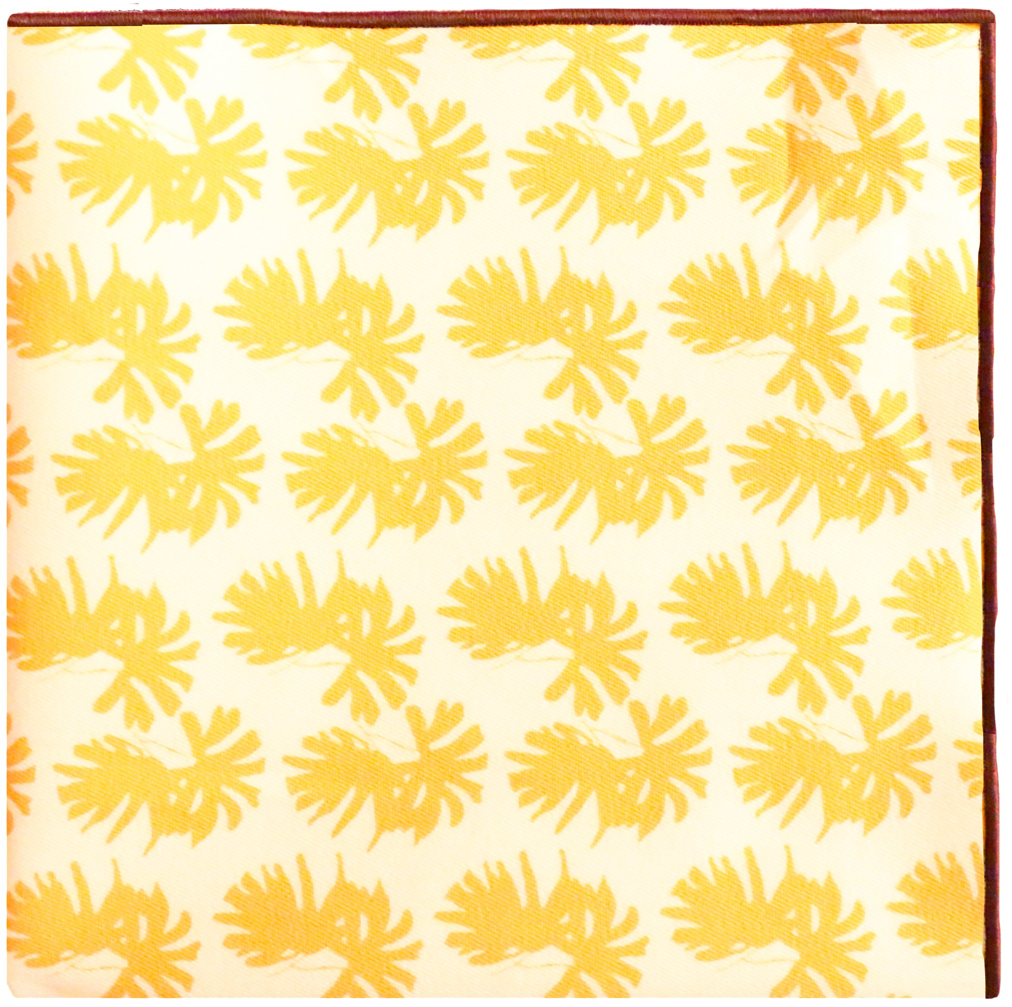 Yellow & White Print with Brown Button Men's Pocket Square by The Detailed Male by The Detailed Male (Image #1)