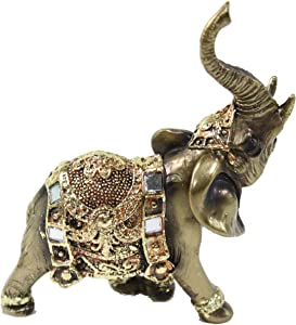 """We pay your sales tax Feng Shui 4.5"""" Bronze Elephant Trunk Statue Wealth Lucky Figurine Gift Home Decor"""
