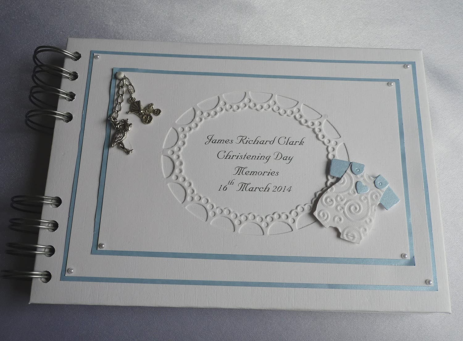 Personalised Baby Boy Photo Album With Interleaving for birth record, Christening or Naming Day A5 Boxed Love2papercraft