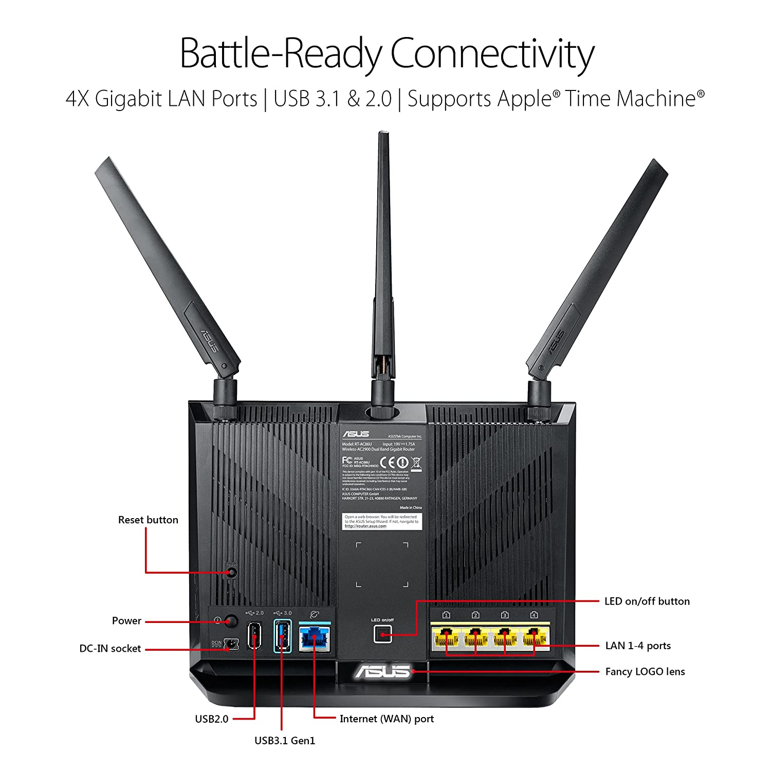 ASUS AC2900 WiFi Dual-band Gigabit Wireless Router with 1.8GHz Dual-core Processor and AiProtection Network Security Powered by Trend Micro AiMesh Whole Home WiFi System Compatible RT-AC86U