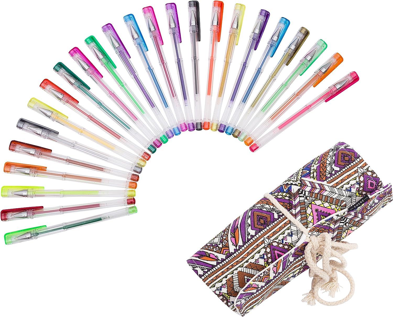 Exerz EXGL24A 24 esferos de gel de colores con estuche - estuche de enrollar, esferos con bolígrafo de tinta fina, incluye esferos con tonos de escarcha, neón, metálicos, y neón escarchado - diamante