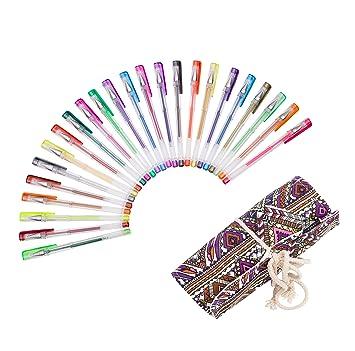 Exerz EXGL24A 24 esferos de gel de colores con estuche - estuche de enrollar, esferos con bolígrafo de tinta fina, incluye esferos con tonos de ...