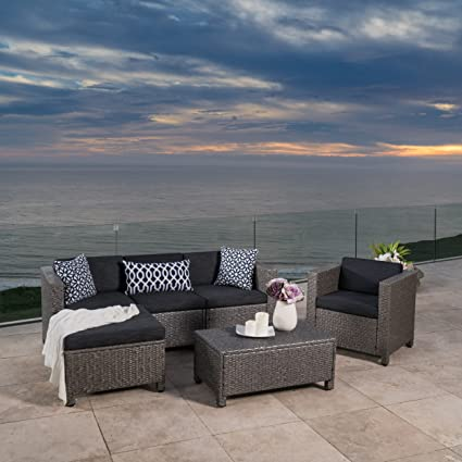 Pueblo Outdoor Wicker L Shaped Sectional Sofa Set With Club Chair (Mixed  Black/