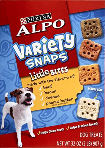 Purina Alpo Variety Snaps Little Bites with Beef, Bacon, Cheese, and Peanut Butter Flavors – 32 Oz. Pack of 2