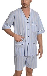 El Búho Nocturno Pijama de Caballero | Pijama de Hombre de Manga Corta clásico a Rayas