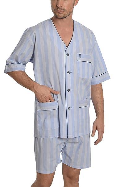 El Búho Nocturno Pijama de Caballero Corto clásico a Rayas/Ropa de Dormir para Hombre