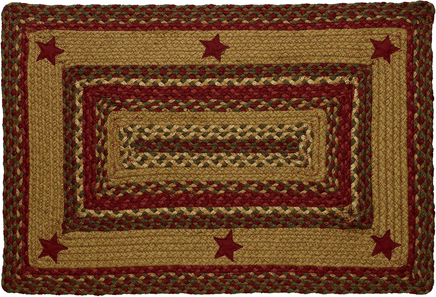 IHF Home Decor Cinnamon Star Rectangle Jute Braided Area Rug Floor Carpet 20 x 30 Inch