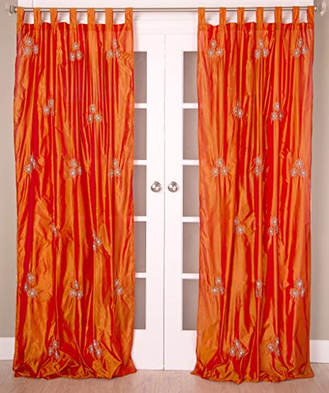 Room With A View P106 Nulki Flower Tab Top Curtain Panel 51 Inch By
